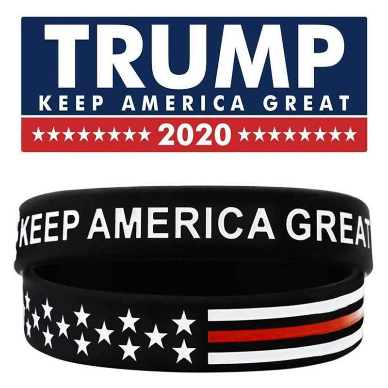 """1pc ארצות מדינה אמריקאי ארה""""ב אמריקה צמיד צמיד טראמפ 2020 כחול דק קו סיליקון גומי סיליקון צמיד צמיד"""