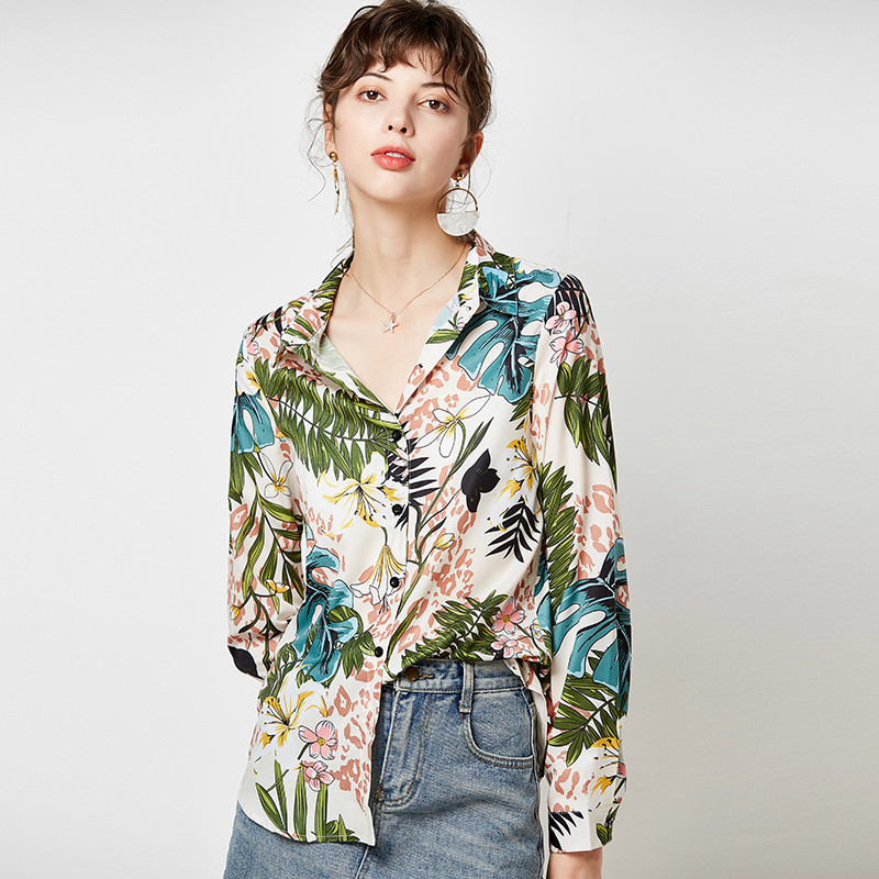 Vintage Floral Print Women Shirts 2019 Casual Loose Elegant Blouse Long Sleeve Turn Down Collar Office Shirt Tops Camisas Mujer