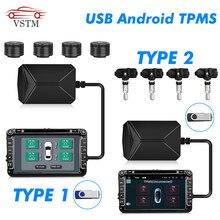 Usb Android Tpms Bandenspanningscontrolesysteem Display Alarmsysteem 5V Interne Sensoren Android Navigatie Auto Radio 4 Sensoren