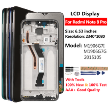 Aaa + display para redmi nota 8 pro display lcd tela de toque para xiaomi redmi nota 8 pro display substituição bom lcd 6.53 polegadas