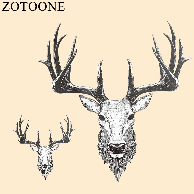 ZOTOONE Christmas Deer Iron-on Transfers Thermal Patches For Clothes Stickers Embroidered Applique DIY Heat T-shirt