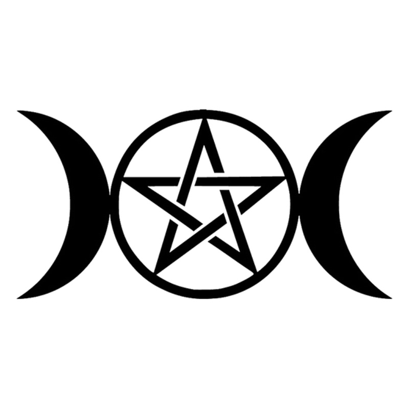 Dawasaru Moon and Pentacle Creative Car Sticker Waterproof Decal Laptop Motorcycle Auto Accessories Decoration PVC,15cm*7cm