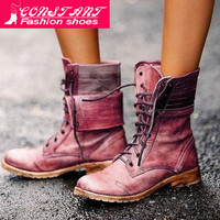 Large Size Martin Boots Female 2019 Autumn And Winter New European And American Tube Thick With Rub Color Retro Women's Boots 43