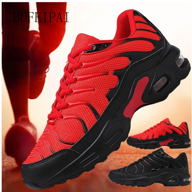 BUFEIPAI Men's New Jogging Shoes Breathable Mesh Sneakers Non-slip Shock Absorption Sneakers Training Running Zapatills