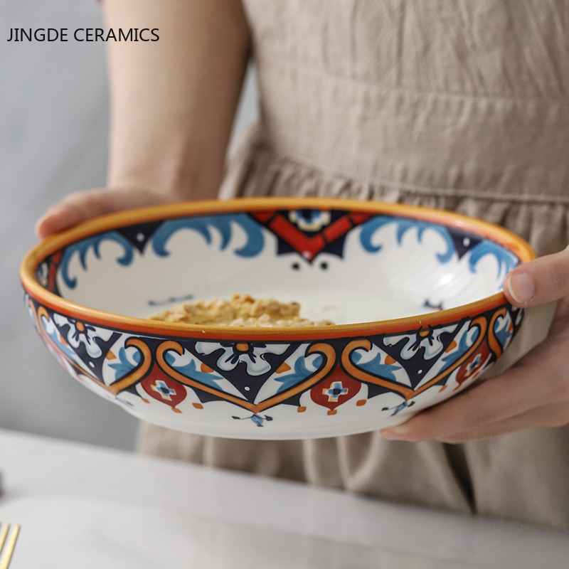 1Pcs American Country Hand-painted Ceramic Plate Tableware Boho Soup Bowl Deep Dish Cover Rice Bowl Glaze Under The Flower Tray