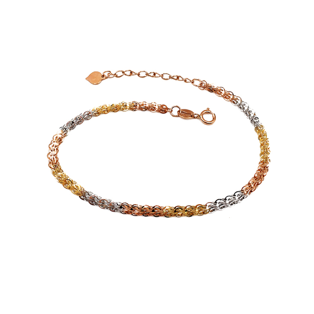 Pure 18K Yellow Rose Gold Bracelet Au750 Phoenix tail Link Extension O Word chain For Women Female Fashion Authentic New 19.5cm 3