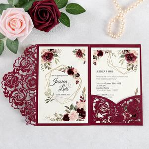 Image 1 - 100pcs Burgundy Laser Cut Floral Invitation Cards for Wedding / Party / Quinceanera / Anniversary /  Birthday, CW0008