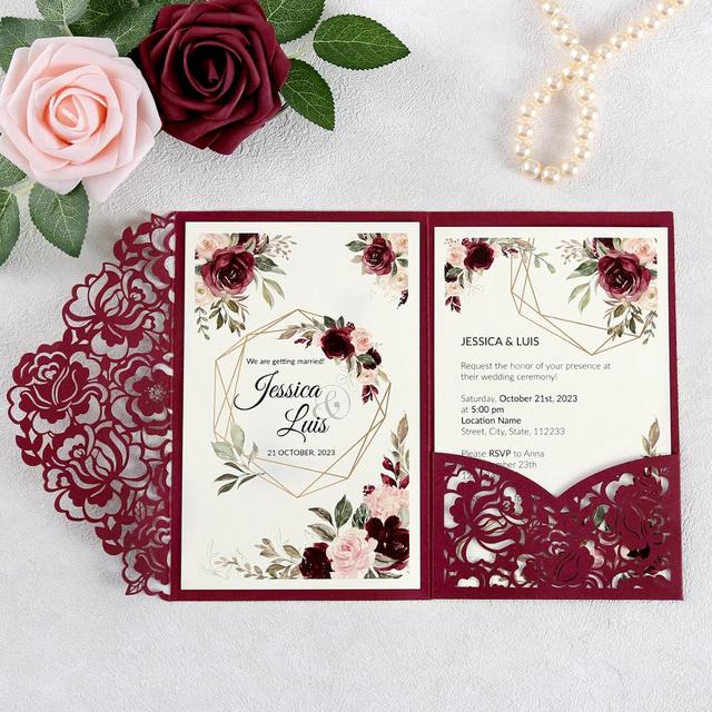 100pcs Burgundy Laser Cut Floral Invitation Cards for Wedding / Party / Quinceanera / Anniversary /  Birthday, CW0008