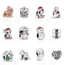 2019 Winter 925 Silver DISNE MI Mouse Christmas Snowman and Santa Hat Carousel Little Penguin Charm DIY Beaded Accessories(China)