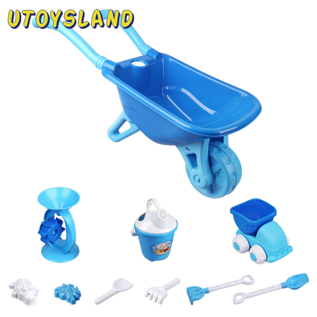 Children Outdoor Wheelbarrow Beach Sand Toy Set With Bucket For Children Kids Beach Sand Toys Water Fun Sports Bathroom 2 Colors