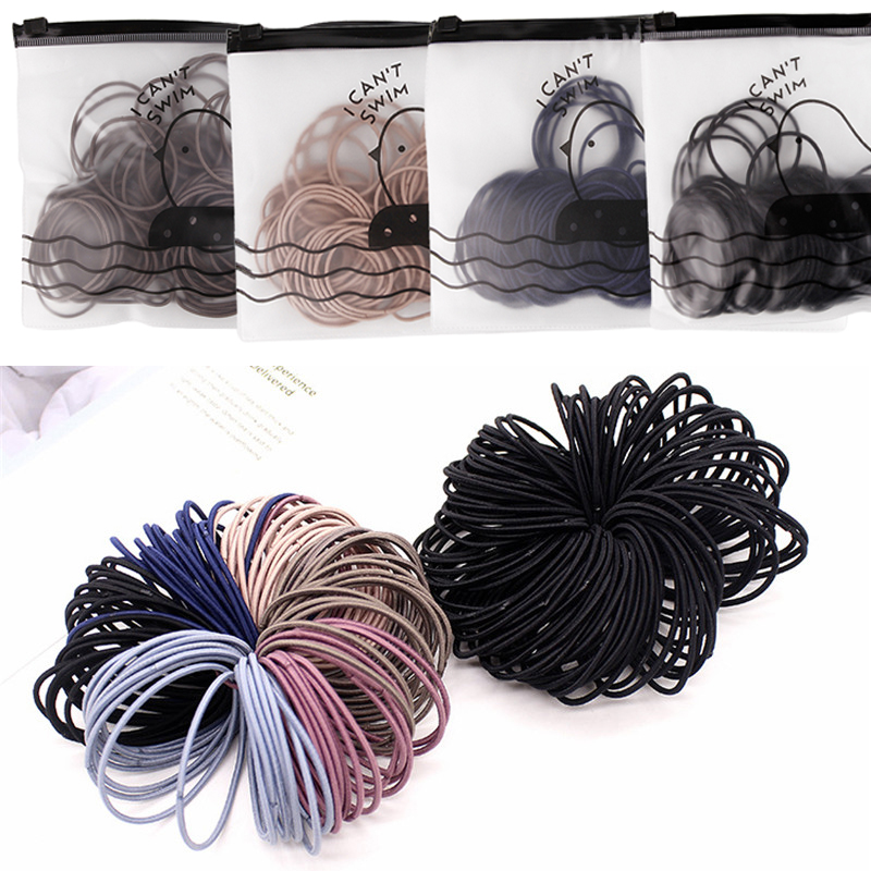 100pcs 4.5 / 5cm High Elastic Rubber Band Basic Hair Bands Scrunchies Hair Ties Women Girls Baby Ponytail Holders Accessories