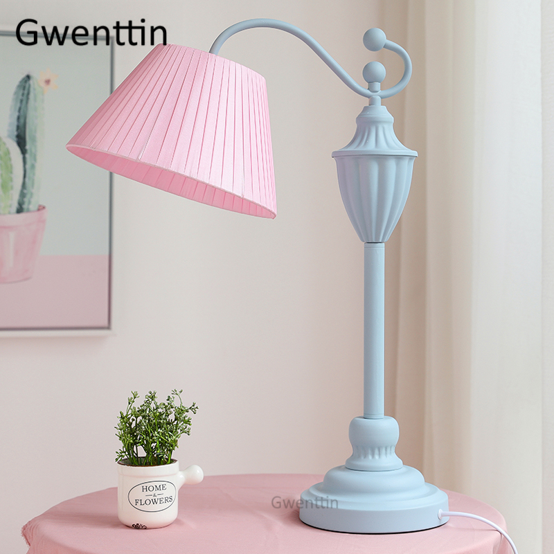 Nordic Princess Fabric Table Lamps Modern Led Standing Lights Pink Stand Light Fixtures For Girls Bedroom Bedside Lamp Luminaire Led Table Lamps Aliexpress