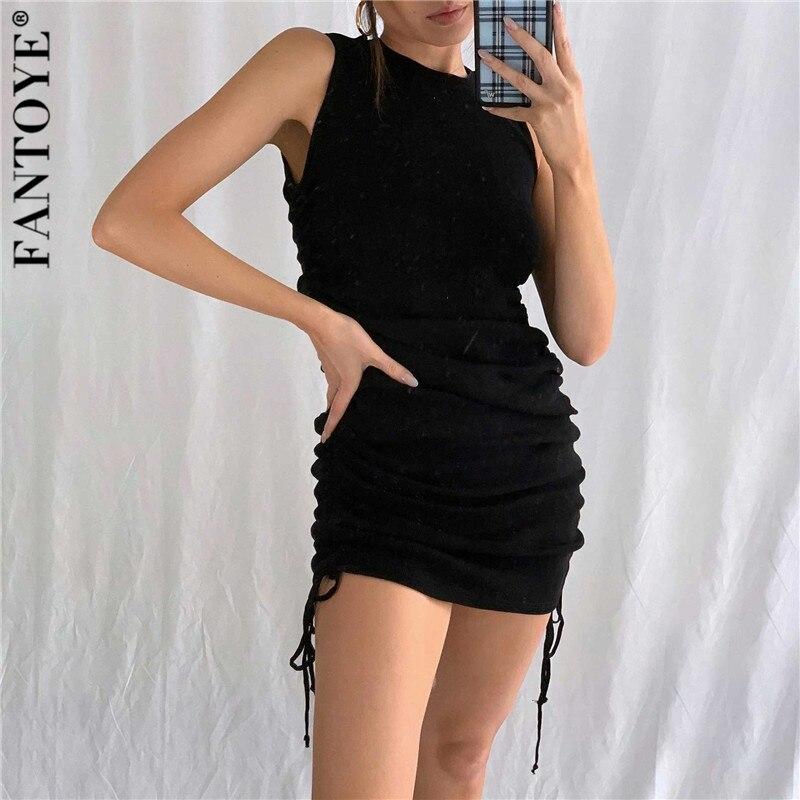 FANTOYE Cotton Ruched Drawstring Sexy Party Dress Women Sleeveless Elastic Mini Dress Vintage Summer Bodycon Club Wear Vestidos 2