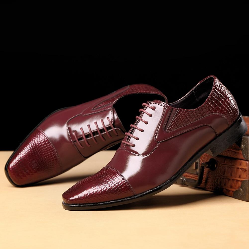 Merkmak New Arrival Men Dress Shoes Fashion Pointed Toe Crocodile Pattern Leather Shoe Business Oxfords Formal Footwear Big Size