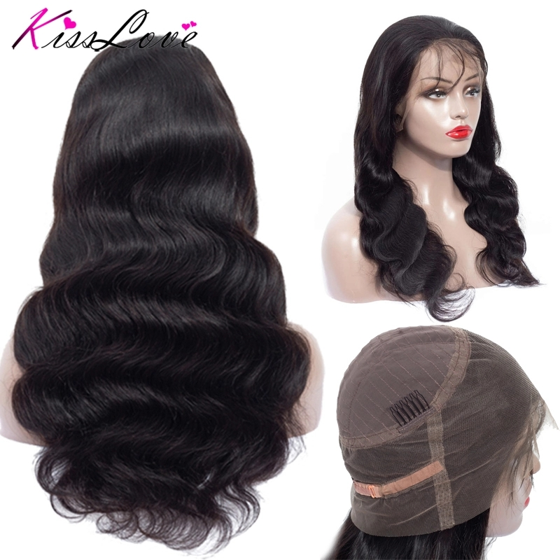 Brazilian 360 Lace Frontal Wig Pre Plucked with Baby Hair Body Wave Lace Frontal Human Hair Wigs Remy Wig Kiss Love image