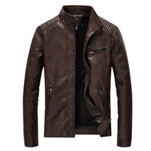 Mens Winter New Leather Jacket Windbreak Plushed Youth Locomotive PU Coat Faux Fur Pu Jackets