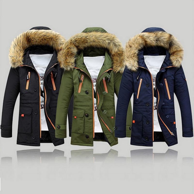MJARTORIA Men Brand Winter Faux Fur Collar Long Thick Cotton Parkas Jacket Coat Men Hooded Pockets Outwear Waterproof  Parka Men