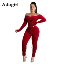 2019 Christmas Red Velet Jumpsuit Belted Lace Up Sexy Long Sleeve One-Shoulder R