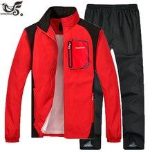 Marca de treino dos homens dois conjuntos de roupas de peça jaqueta casual + calças 2 pçs masculino faixa terno moletom moletom masculino andando hoodiesConjuntos Masculinos