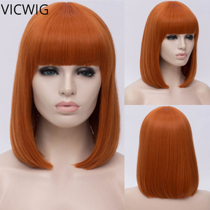 VICWIG Synthetic 14 inch Black Straight Short Bob Wigs With Bangs Blue Golden Red Green White Purple Brown Cosplay Wig Female(China)