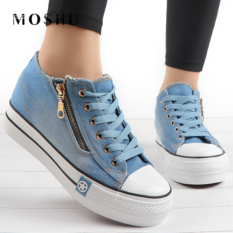 Denim Shoes Women Casual Vulcanize Shoes Fashion Canvas Shoes Ladies Lace Up Sneakers Trainers Zapatos Mujer Tenis Feminino 2020