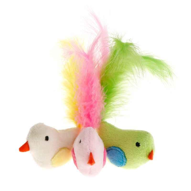 Игрушки для кошек, искусственная красочная ложная птица, перо, игрушка для игр, интерактивный котенок, кошачья мята, тизер, товары для животных, аксессуары