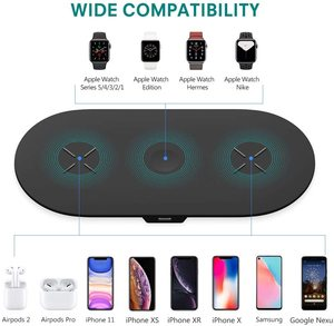 Image 2 - Phone Battery Charger 3 in 1 Qi Wireless Charger 10W Induction Stand Wireless Charging Pad Holders For iPhone 11 12 Pro  Airpods
