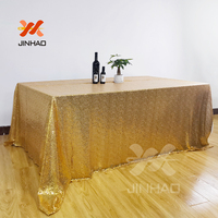 Shiny Gold Sequince Tablecloth Rectangle Table Cover For Wedding