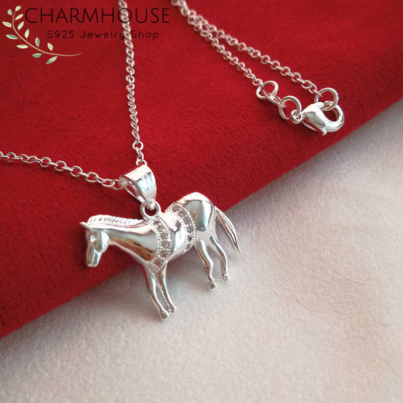 925 Silver Necklaces For Women Horse Pendant Necklace Collier Femme Choker Wedding Bridal Jewelry Accessories Bijoux