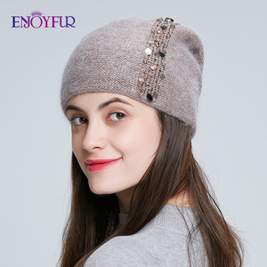Image 3 - ENJOYFUR Winter knitted double layer hats for women fashion sequins and rhinestones  beanies female thick warm 2019 new caps