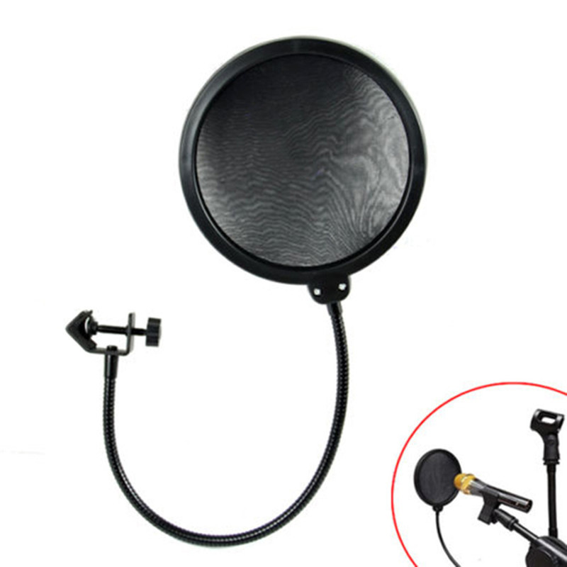 BCMaster Double Layer Studio Microphone Flexible Wind Screen Mask Mic Pop Filter Shield For Speaking Recording Accessories