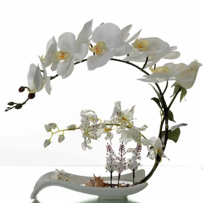 Бабочка Орхидея, искусственные цветы набор поддельная цветочная керамическая украшение вазы Phalaenopsis фигурка домашнего интерьера украшения Ремесло