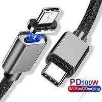 Usb tipo de cabo magnético c para tipo c pd carregador rápido cabo para macbook pro huawei matebook 100 w 5a pd usb c ímã cabo de carregamento