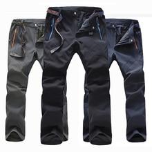 цена на Men Winter Softshell Fleece Pants Waterproof Outdoor Pants Skiing Trekking Hiking Camping Male Run Trousers