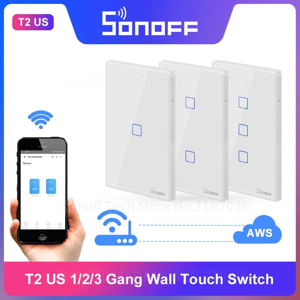 Itead Sonoff Новый T2US 1/2/3 Gang 433 МГц настенный сенсорный выключатель RF дистанционное управление Wifi переключатель работает с Alexa Google Home IFTTT