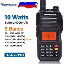 Quansheng TG-UV2 PLUS 10W 5 Bandas de Alta Potência 136-174MHz/banda Da Polícia 350-390MH/400-470MHz 4000mAh 10KM Ham CB Rádio de Longo Alcance