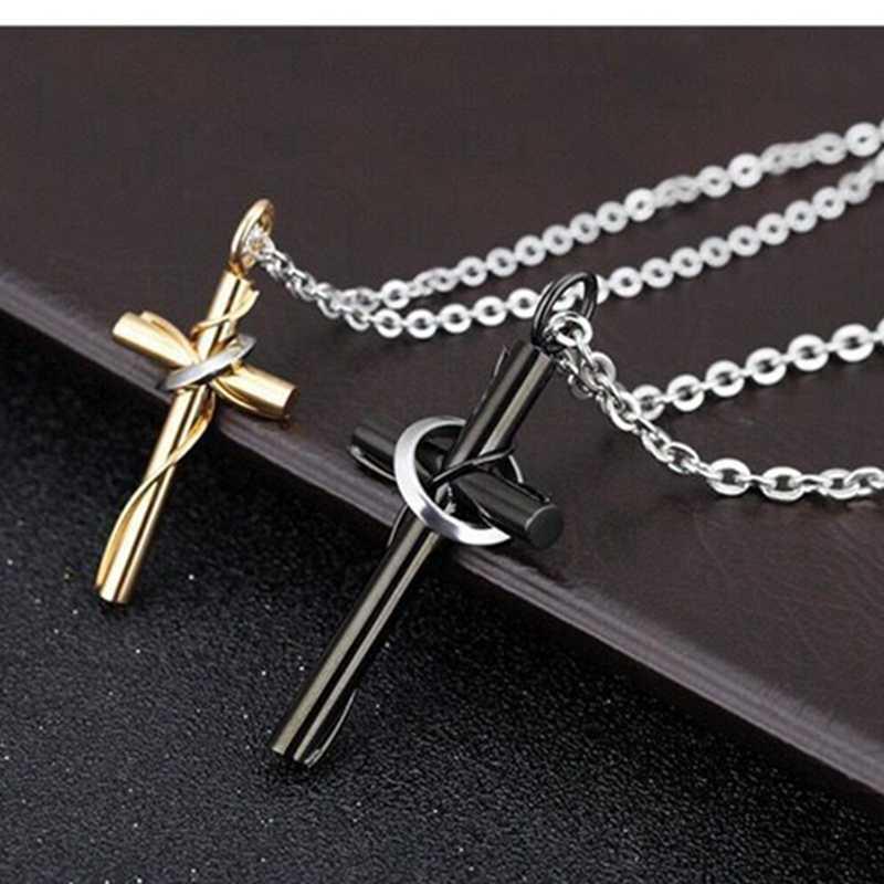 Luksusowy diament kreatywny pierścień krzyż wisiorek srebrny styl hip-hopowy tytanowy naszyjnik z jezusem moda punk kubański jewelryNecklac
