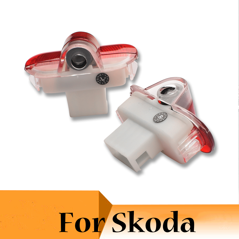 2 Pieces <font><b>LED</b></font> Car Door Light Courtesy Logo Laser Projector Ghost Shadow Lamp For <font><b>Skoda</b></font> <font><b>Octavia</b></font> 2007 2008 2009 <font><b>2010</b></font> 2011 2012 image