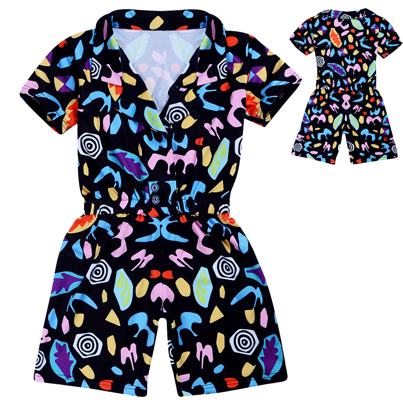 5-14 Year Girls Drama Outfit Stranger Things Season 3 Cosplay Costume Jumpsuit Halloween Role Play Short Sleeve Dress Jumpsuit