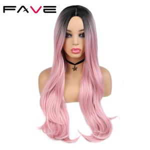 FAVE Heat Resistant Fiber Straight Wigs For Women's Rose Gold Black Pink/99j/Green/Blue/Purple Cosplay Hair Synthetic Wigs(China)