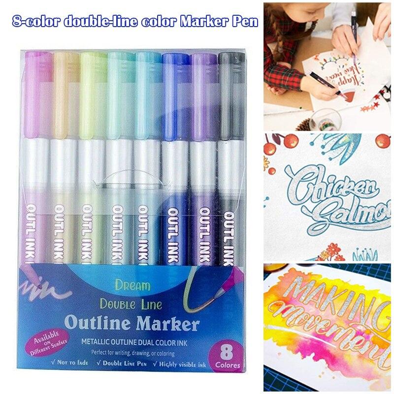 Набор металлических двусторонних маркеров для рисования, 8 цветов, H7JP