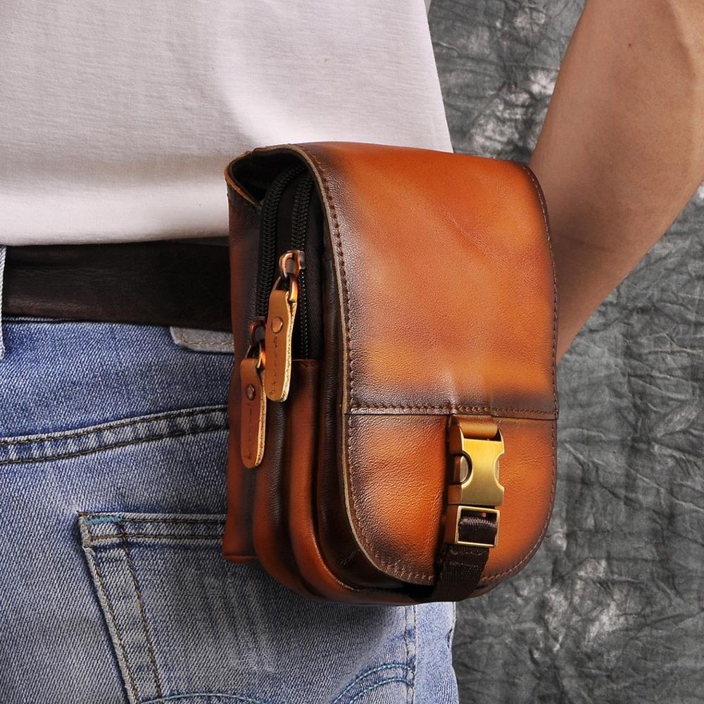Genuine Leather Fashion Men Design Casual Daily Use Small Fanny Waist Belt Bag Hook Pack Fashion 6