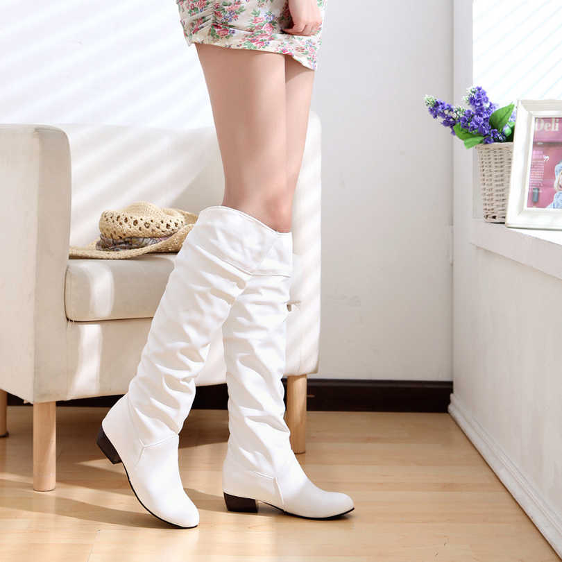 Kadın deri diz yüksek çizmeler moda katlanır üzerinde kayma kış yüksek çizmeler rahat düşük topuklu beyaz siyah uzun ince çizmeler bayanlar 2019