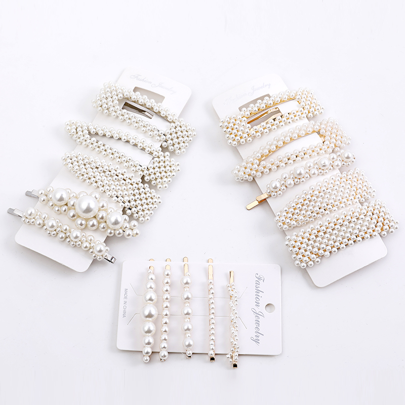 5PCS/set Fashion Women's Pearl Hair Clip Hair Clip Set Snap Hair Clip Girl Soft Hair Clip Headdress Hair Clip Jewelry Jewelry