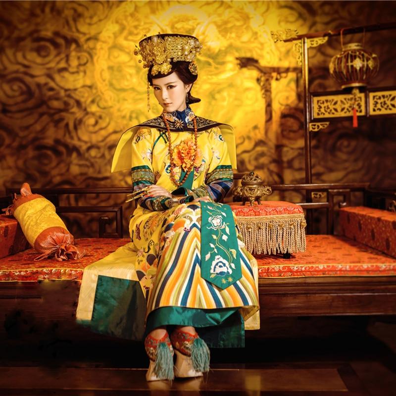 WYJN Empress Xiao Zhuang Qing Dynasty Royal Yellow Female Qifu Delicate Embroidery High Quality Drama Costume Cosplay Hanfu