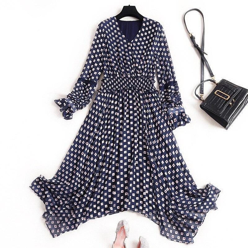 Women silk dress new 2020 spring summer long sleeve sexy V-neck elastic waist ruffles geometric print asymmetric dresses navy