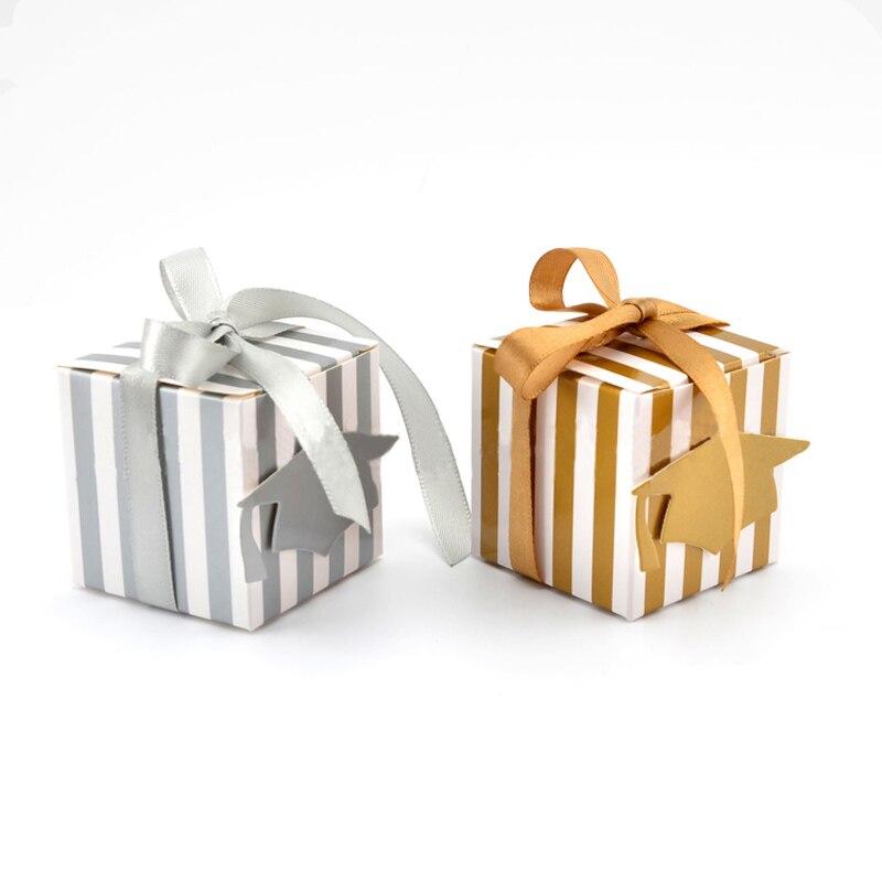50pcs or argent Graduation partie boîte de papier avec ruban bonnet de baccalauréat forme boîte à bonbons Promotion boîte-cadeau fournitures de fête de mariage