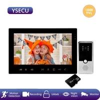 YSECU motion sensor 7 inch 1000TVL Video intercom kit,Built in power supply supported,Video Door Phone Recording 16GB,waterproof