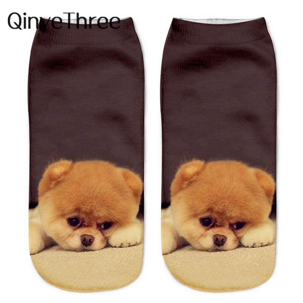 Unisex Cute Dogs 3D Printing Socks Female Socks Women Low Cut Ankle Socks Calcetines Mujer Casual Hosiery Puppy Printed Sock
