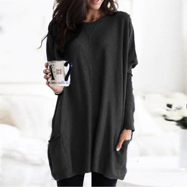 Casual Dress Women Autumn Loose O Neck Long Sleeve Pockets T-shirt Dress Solid Color Simple Winter Warm Plus Size Vestidos XXXL 3